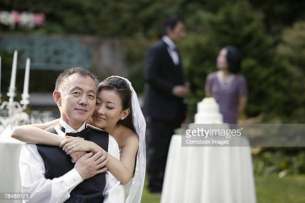 Bride and father at reception