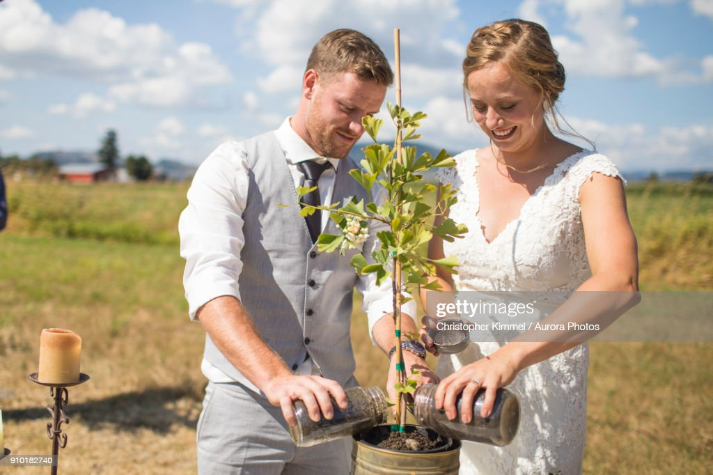 Bride And Groom Add Soil To Unity Tree During Wedding