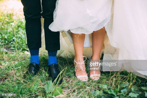 bride and groom and their shoes and socks - blue shoe stock pictures, royalty-free photos & images