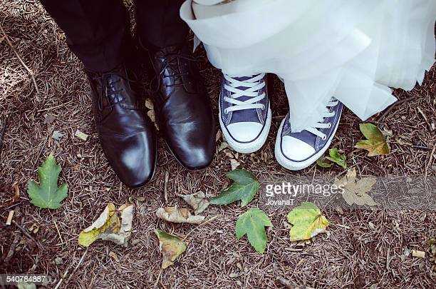 Bride and groom and their shoes