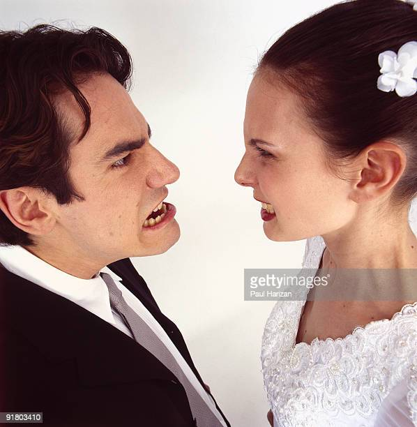 Bride and groom arguing