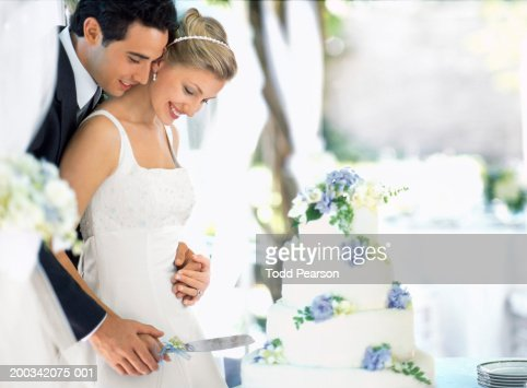 unusual wedding cake cutting songs and groom cutting wedding cake side view stock photo 21478