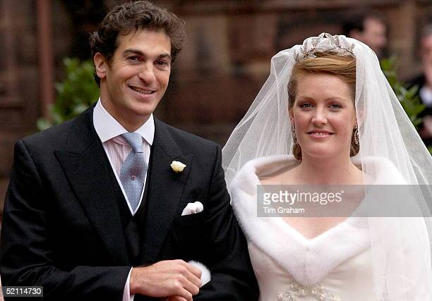 Bride And Groom Edward Van Cutsem And Lady Tamara Grosvenor After Their Wedding At Chester Cathedral Her Diamond Tiara Is Designed By Carl Faberge...