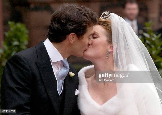 Bride And Groom Edward Van Cutsem And Lady Tamara Grosvenor Kissing After Their Wedding At Chester Cathedral Her Diamond Tiara Is Designed By Carl...