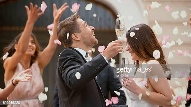 Bride and groom enjoying in wedding ceremony