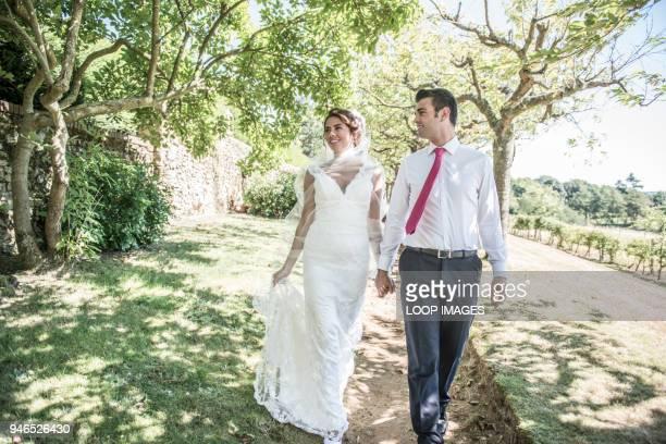A bride and groom enjoying their wedding day