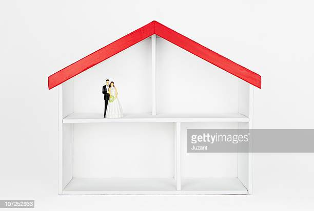 Bride and groom figurine in dollhouse