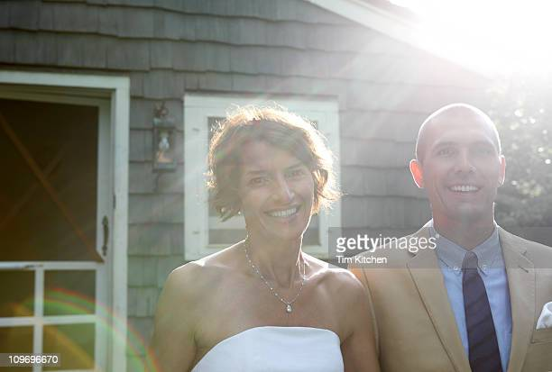 Bride and groom glowing with happiness, portrait