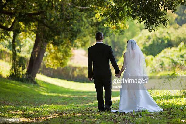 Bride and Groom in a Garden