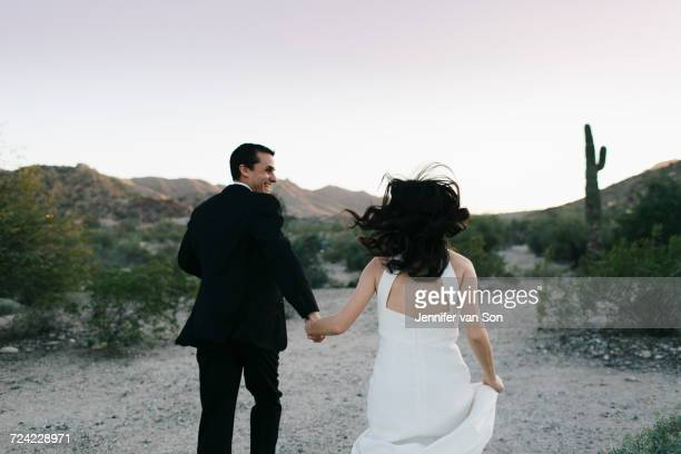 Bride and groom in arid landscape, holding hands, running, rear view