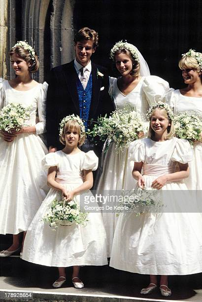 Bride and groom Julia Rawlinson and James Ogilvy pose with their bridesmaids Charlotte Rawlinson Lady Gabriella Windsor Alexandra Wilson And Eleanor...