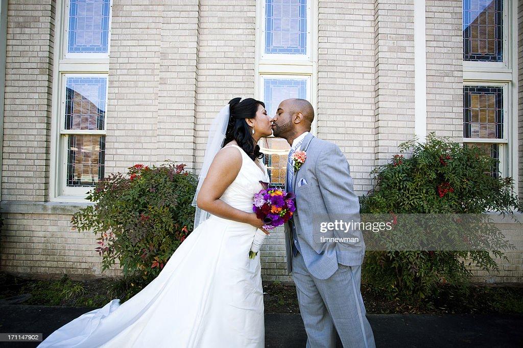 Bride and Groom Kiss : Stock Photo