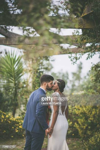 Bride And Groom Kissing Against Plants At Park