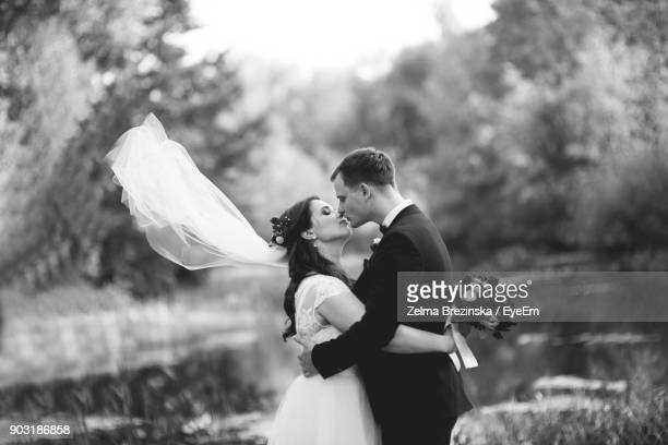 bride and groom kissing at park - marriage stock pictures, royalty-free photos & images