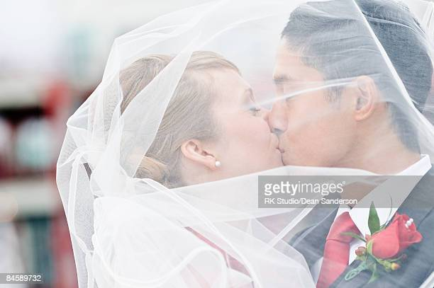 Bride and groom kissing under a veil.