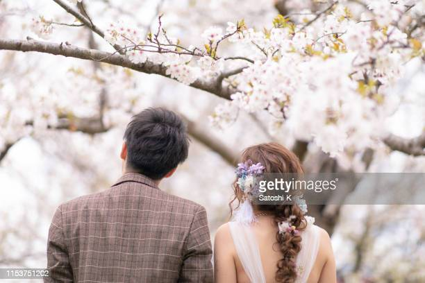 bride and groom looking at cherry blossoms - pink dress stock pictures, royalty-free photos & images
