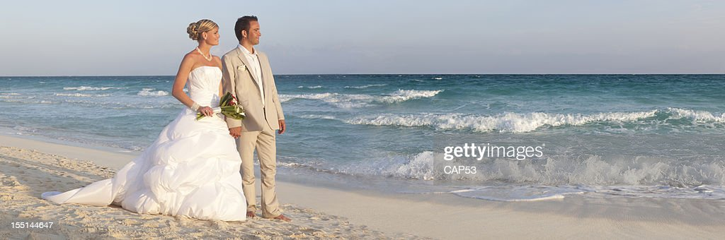 Bride And Groom On Caribbean Beach : Stock Photo