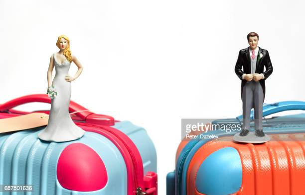 bride and groom on suitcase - honeymoon stock pictures, royalty-free photos & images
