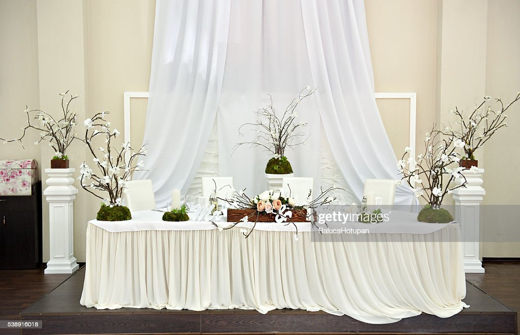 Bride And Groom Table Settings And Decorations At Wedding : Stock Photo