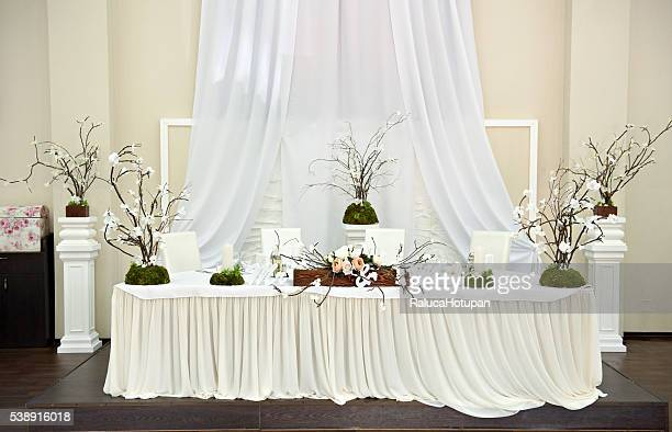 Bride And Groom Table Decorations Stock Photos And Pictures