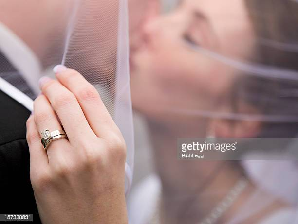 bride and groom under veil - wedding ring stock pictures, royalty-free photos & images