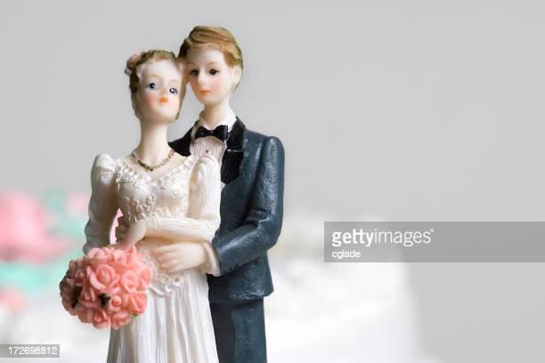 Bride and groom vintage cake topper ornament