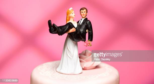 bride and groom wedding figurines - trouwen stockfoto's en -beelden