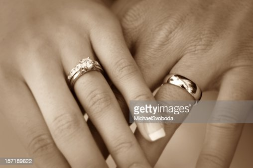 Bride And Groom Wedding Rings Stock Photo