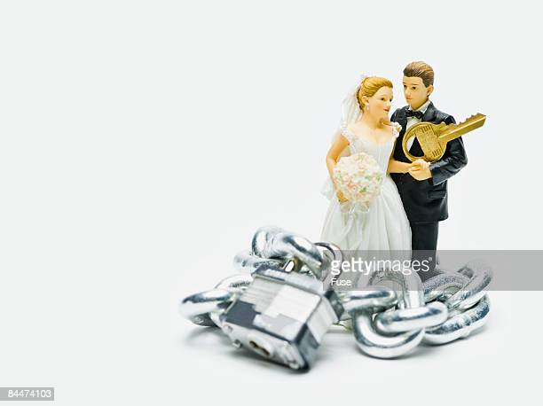 Bride and Groom Wrapped in Chain