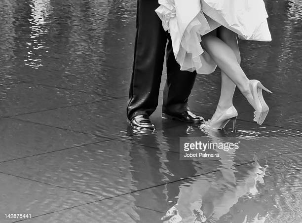 bride and grooms feet - standing on one leg stock pictures, royalty-free photos & images