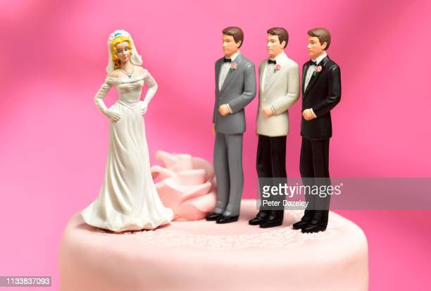 bride and three choices of ex boyfriends to be groom - bigamy stock pictures, royalty-free photos & images