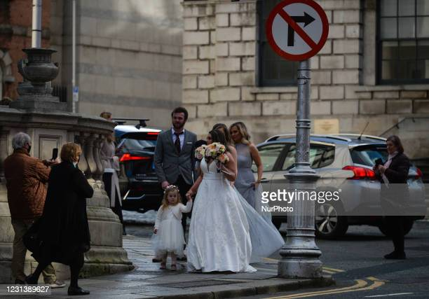 Bride arrives for her wedding service at the City Hall in Dublin during Level 5 Covid-19 lockdown. On Thursday, February 25 in Dublin, Ireland.