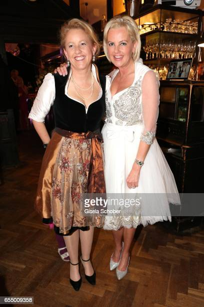 Bride Astrid Soell and her sister Christina Dehmel during the wedding party of dirndl fashion designer Astrid Soell and Volker Woehrle at restaurant...