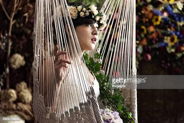 Bride at a florist place