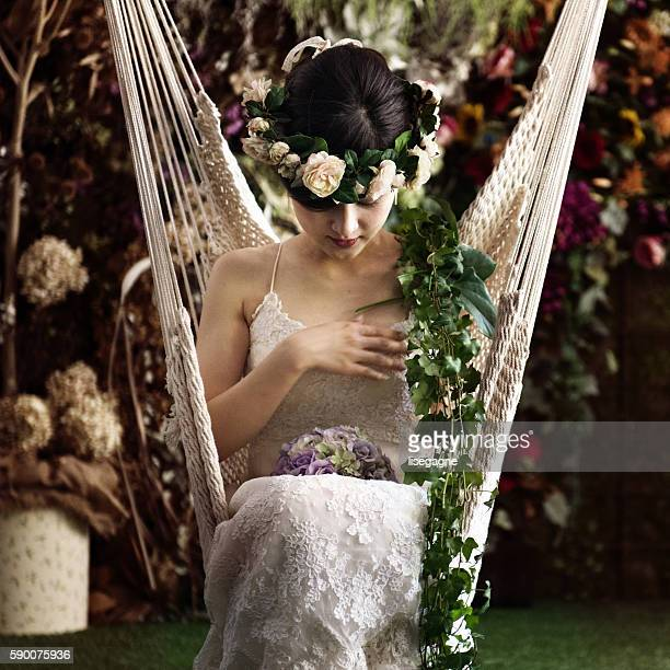 Bride at a florist place