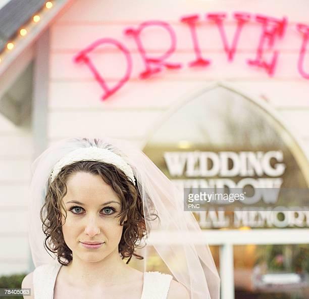 Bride at drive-thru wedding chapel