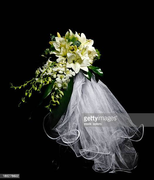 bride bouquet - veil stock pictures, royalty-free photos & images