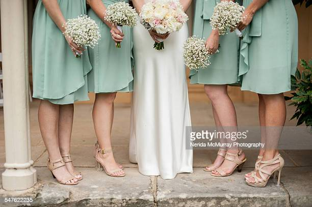Bride & Bridesmaids with flowers