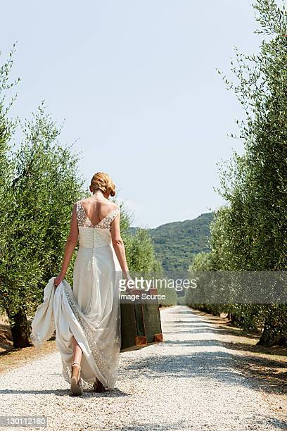 Bride carrying suitcase on country road