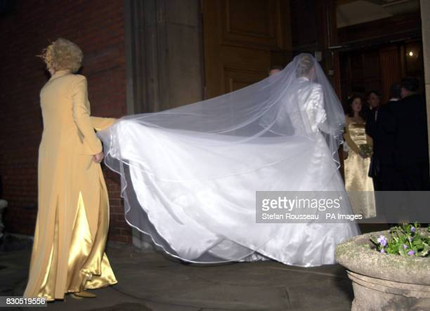 Bride Claire Fossett arriving at St Paul's Church Covent Garden in London for her wedding to former choirboy and TV's Songs of Praise presenter Aled...