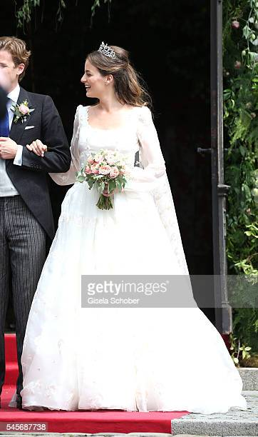 Bride Cleopatra zu OettingenSpielberg leaves the church after the wedding of hereditary Prince FranzAlbrecht zu OettingenSpielberg and Cleopatra von...