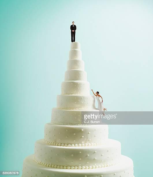 Bride climbing wedding cake