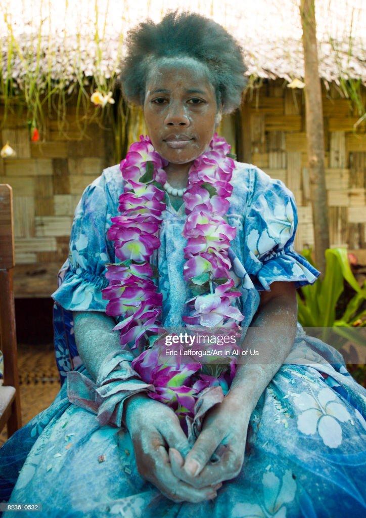 Bride covered in flour during a traditional wedding, Malampa Province, Ambrym island, Vanuatu... : News Photo