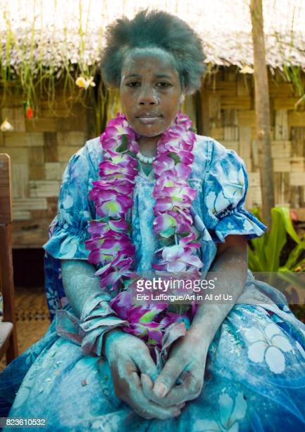 Bride covered in flour during a traditional wedding Malampa Province Ambrym island Vanuatu on August 31 2007 in Ambrym Island Vanuatu