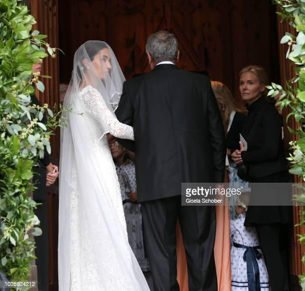 Bride Deniz Kaya and her father Metin Kaya arrive to the wedding of Prince Konstantin of Bavaria and Princess Deniz of Bavaria born Kaya at the...
