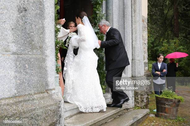 Bride Deniz Kaya and her father Metin Kaya arrive to the wedding of Prince Konstantin of Bavaria and Princess Deniz of Bavaria born Kaya at the...