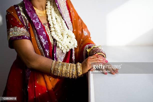 Bride dressed for wedding ceremony