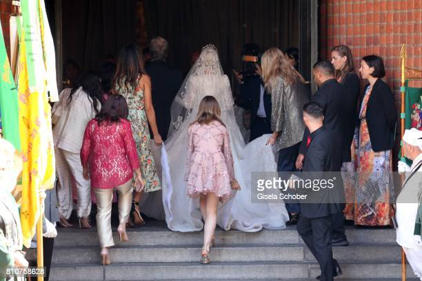 Bride Ekaterina Malysheva and Princess Alexandra of Hanover during the wedding of Prince Ernst August of Hanover jr Duke of BrunswickLueneburg and...