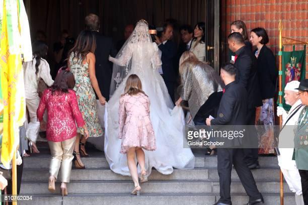 Bride Ekaterina Malysheva and Princess Alexandra of Hanover during the wedding of Prince Ernst August of Hanover jr Duke of BrunswickLueneburg and...
