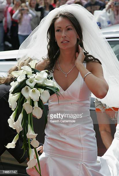 Bride Emma Hadfield arrives at Manchester Cathedral for her wedding to Manchester United and England footballer Gary Neville on June 16 2007 in...